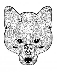 Coloriage gratuit tete de renard avec motifs