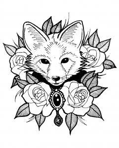Coloriage renard et roses