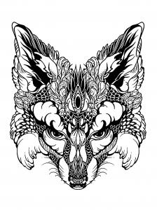 Coloriage renard noir et blanc