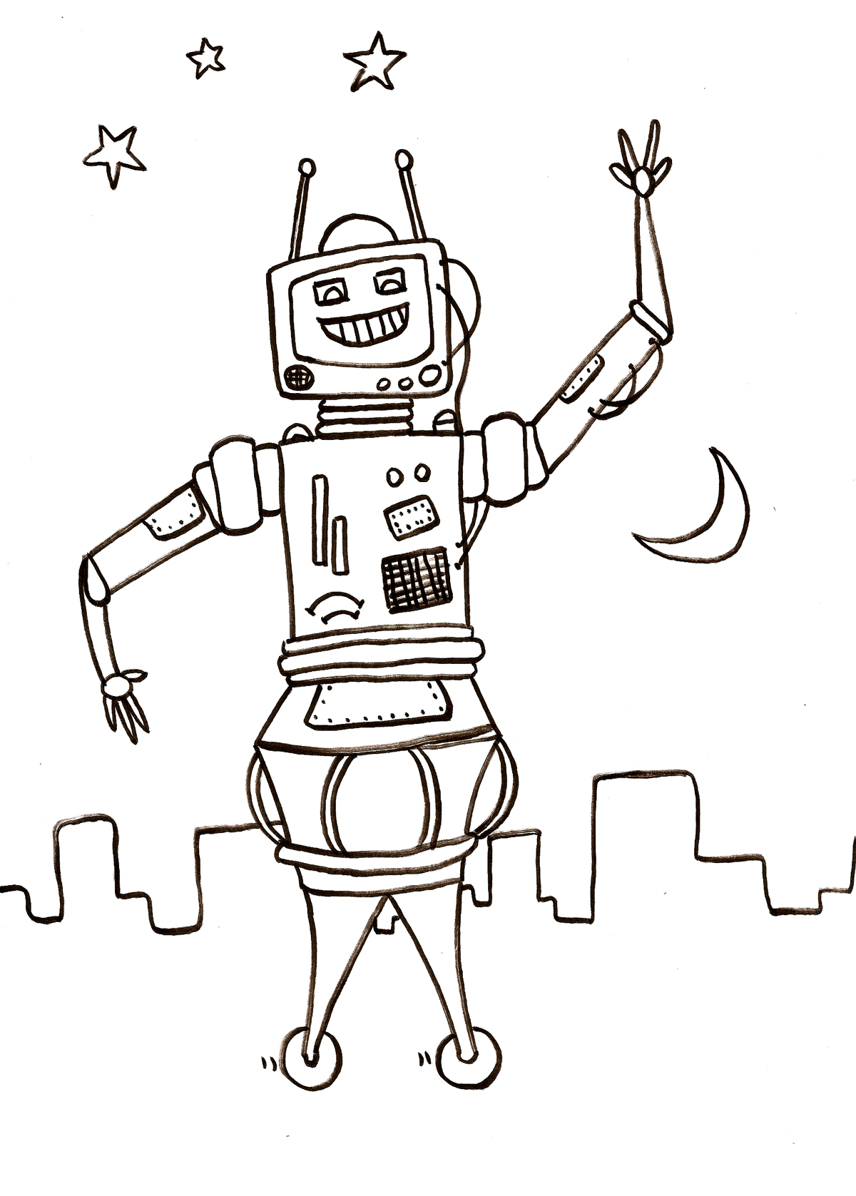 Robots 1 coloriage de robots coloriages pour enfants - Coloriage franky le robot ...