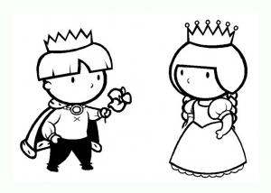 Coloriage de roi et reine à colorier pour enfants