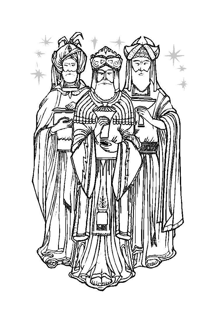 3 rois mages à colorier