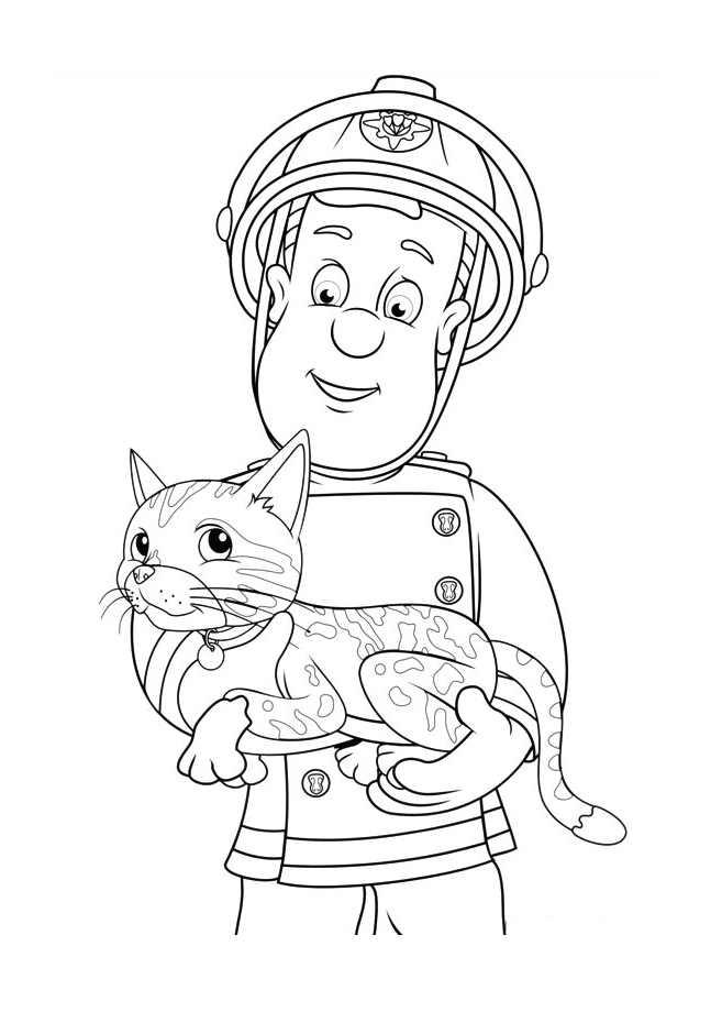 Coloriage de Sam le Pompier avec un chat