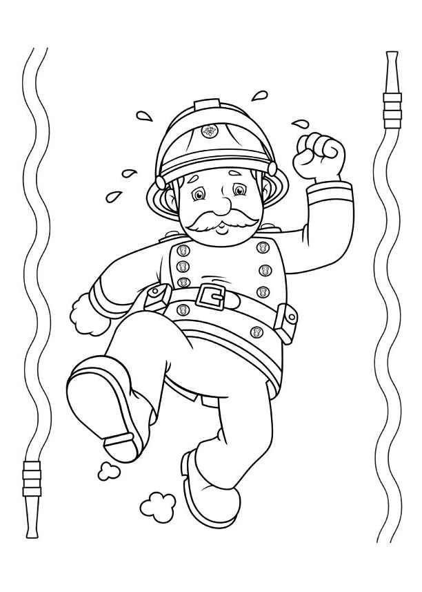 Coloriage d'un pompier de la série Sam le pompier