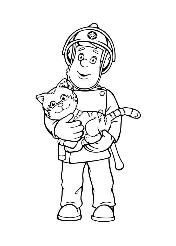 Dessin de Sam le pompier avec un chat