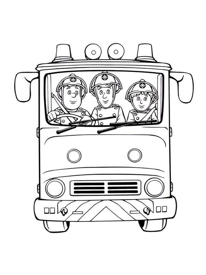 Coloriage de Sam le Pompier dans un camion