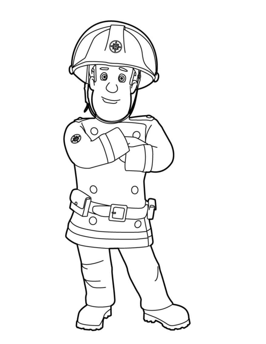 Coloriage de Sam le Pompier tout seul