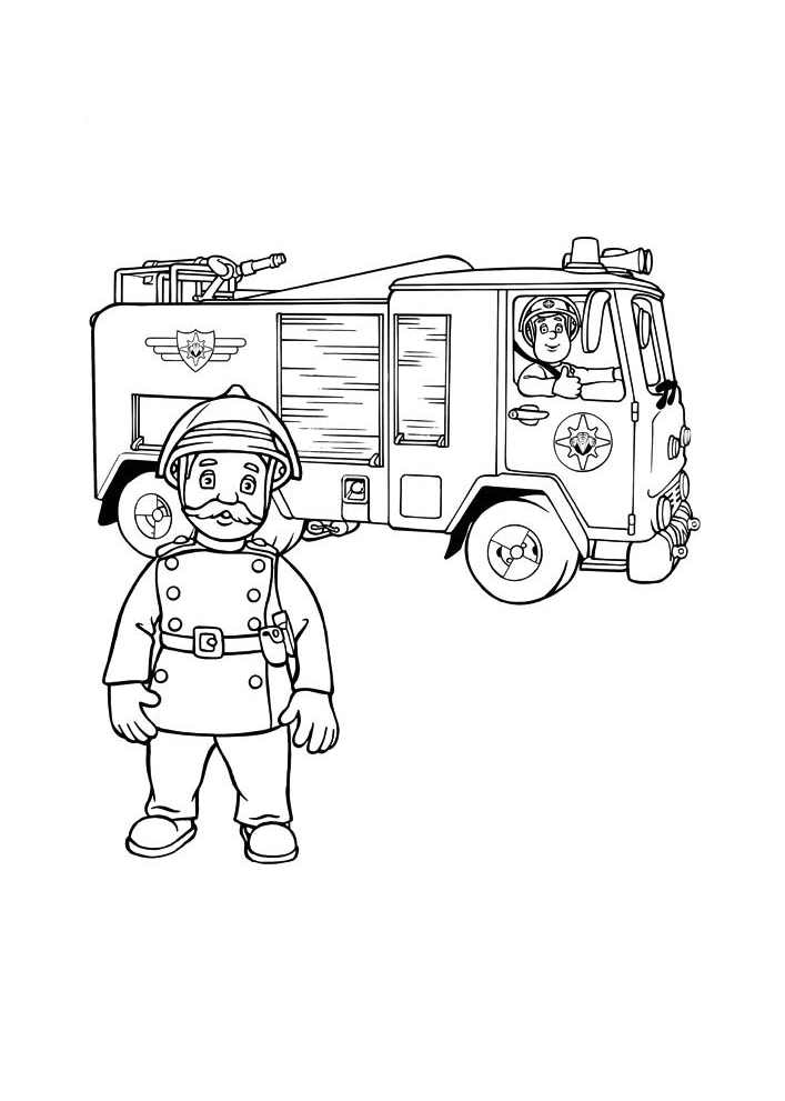 Dessin de Sam le pompier à imprimer et colorier