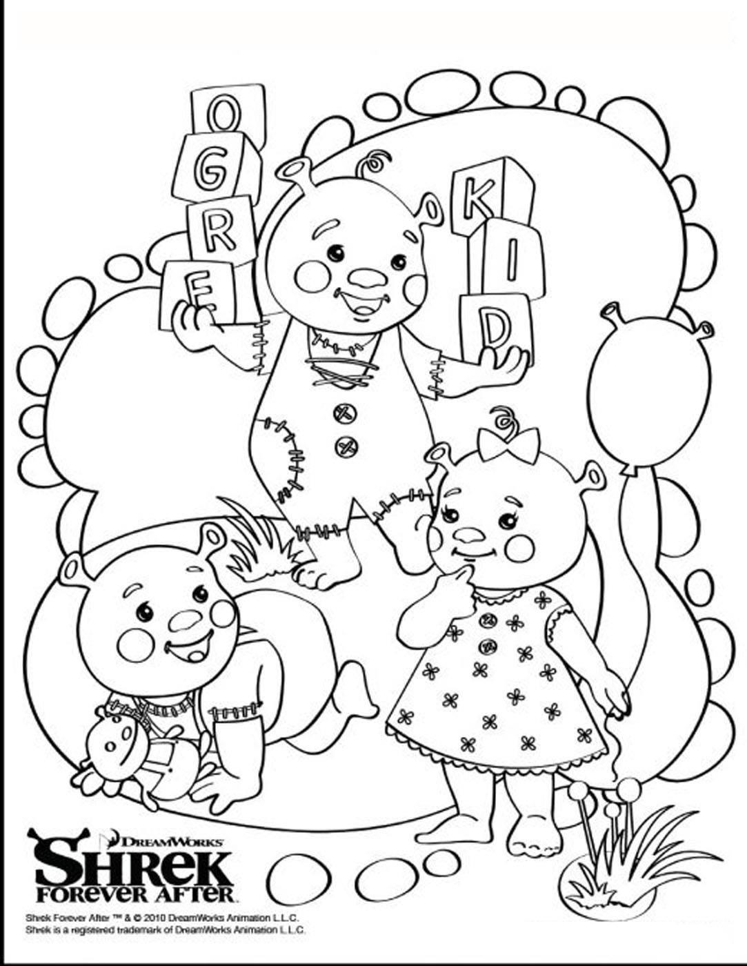 Les enfants de Shrek et Fiona réunis dans un beau dessin