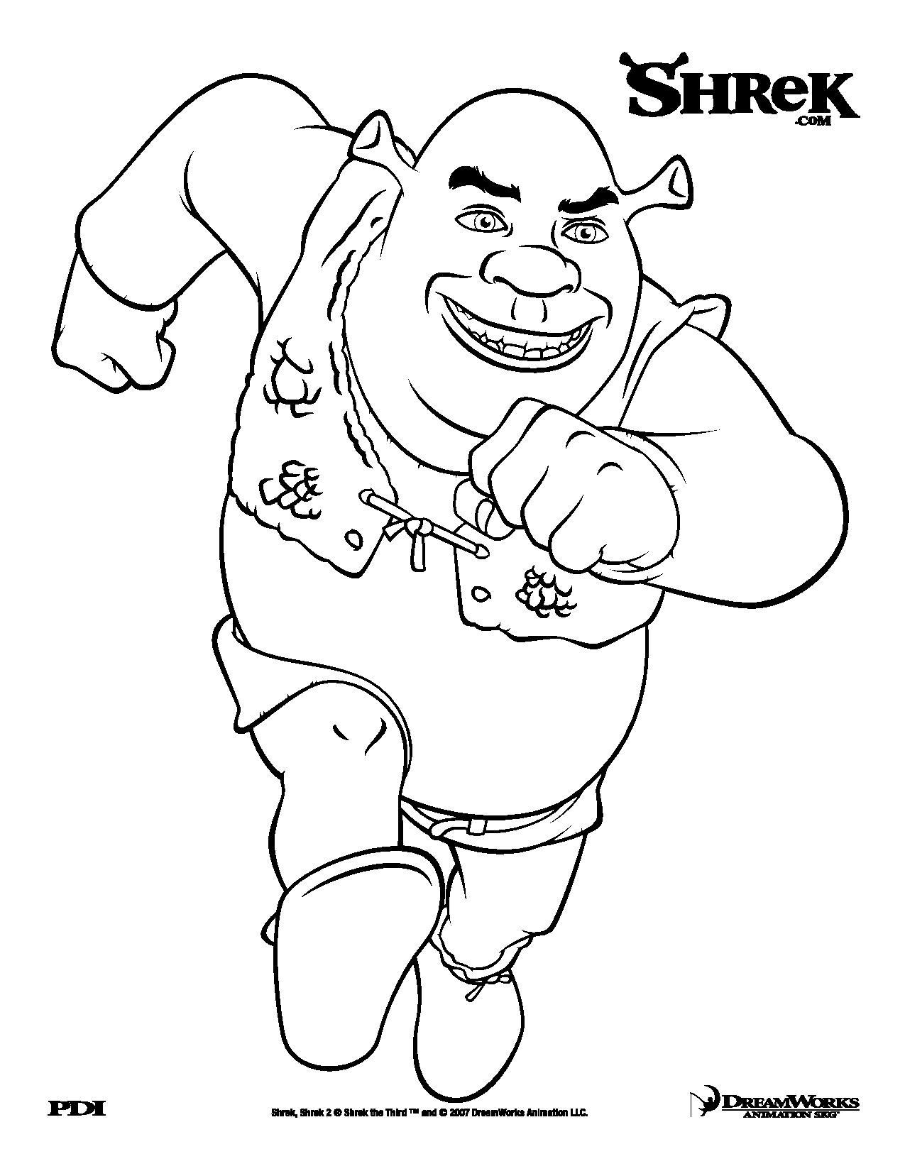 Coloriage de Shrek en train de courir