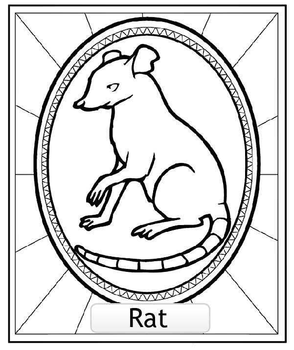 Dessin De Signe Chinois signe astrologique chinois rat copie - coloriage signes