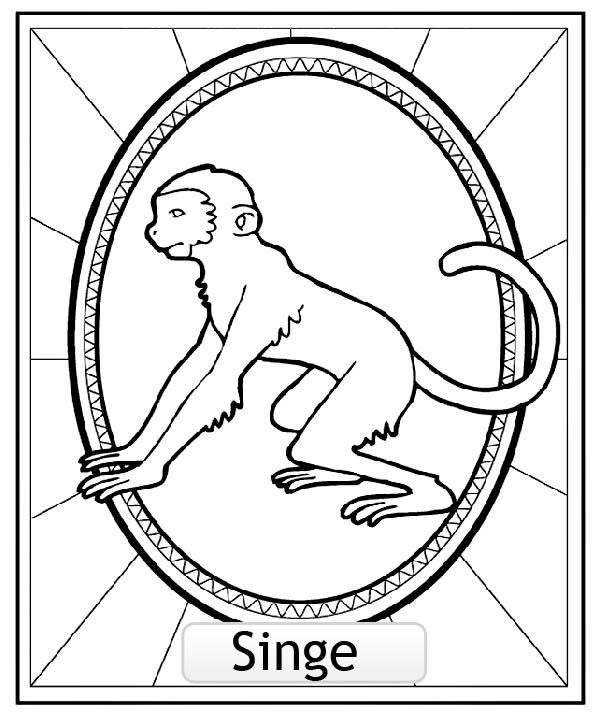 Coloriage Adulte Singe.Signe Astrologique Chinois Singe Copie Coloriage Signes