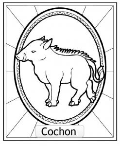 Coloriage signe astrologique chinois cochon copie