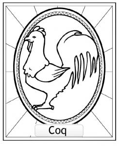 COQ : Dessin de Signes Astrologiques Chinois gratuit à imprimer et colorier