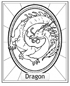 Coloriage signe astrologique chinois dragon copie