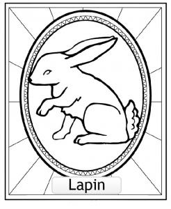 LAPIN : Coloriage de Signes Astrologiques Chinois à colorier pour enfants