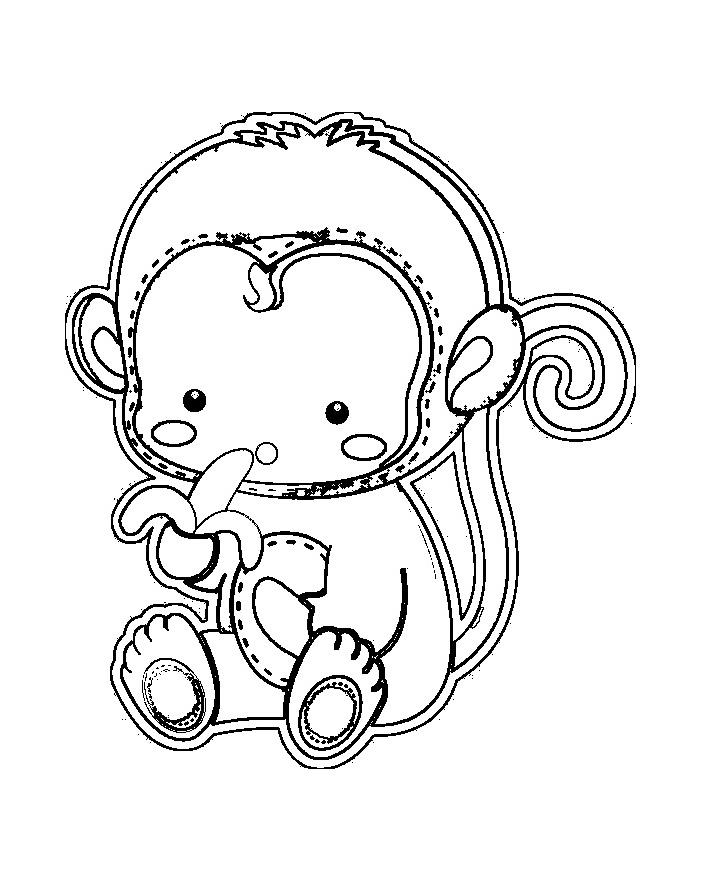 Joli bébé singe à colorier | A partir de la galerie : Singes