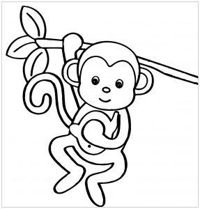 Coloriage de singe pour enfants