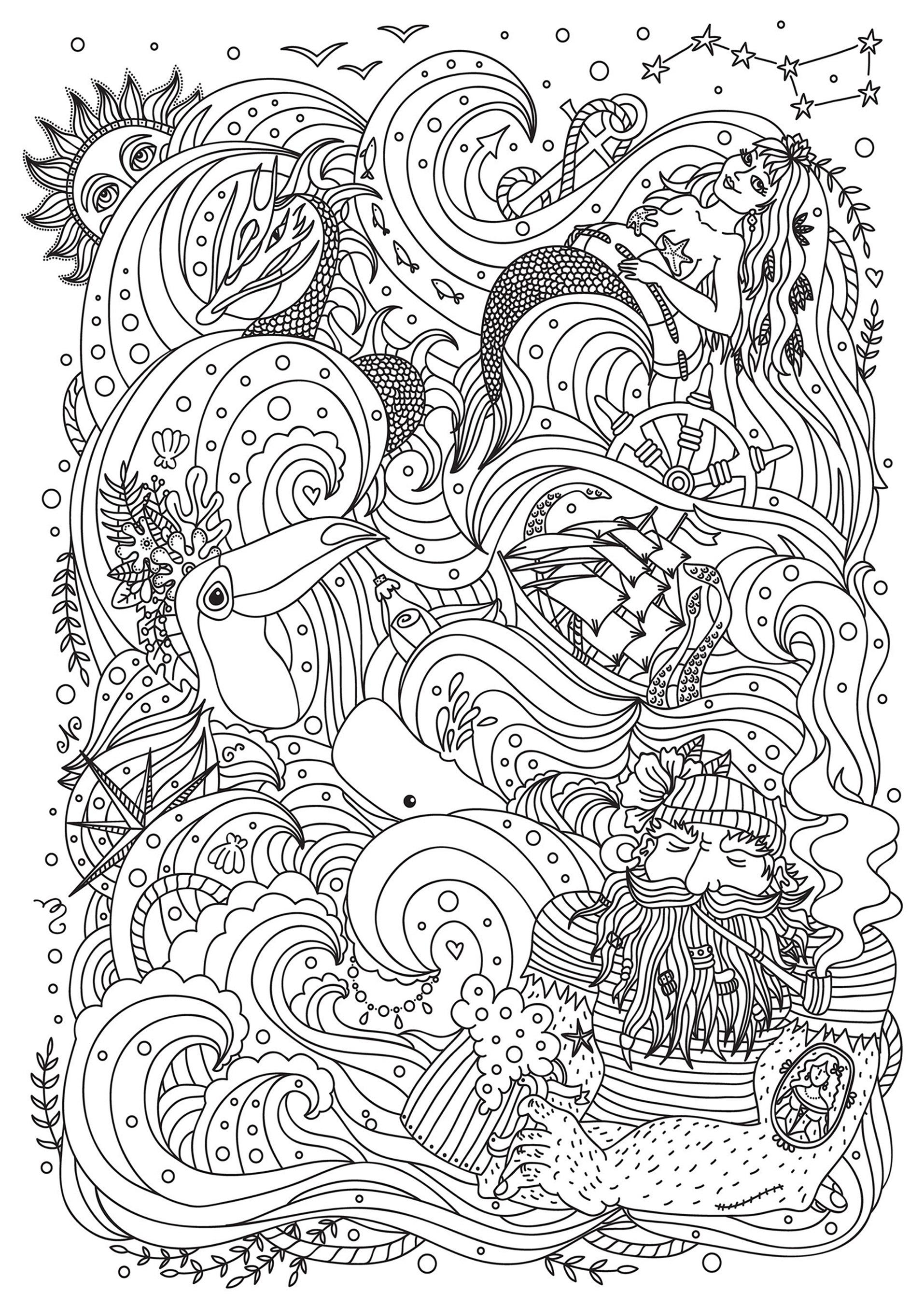 Sirene Bateau Et Marin Coloriage De Sirènes Coloriages