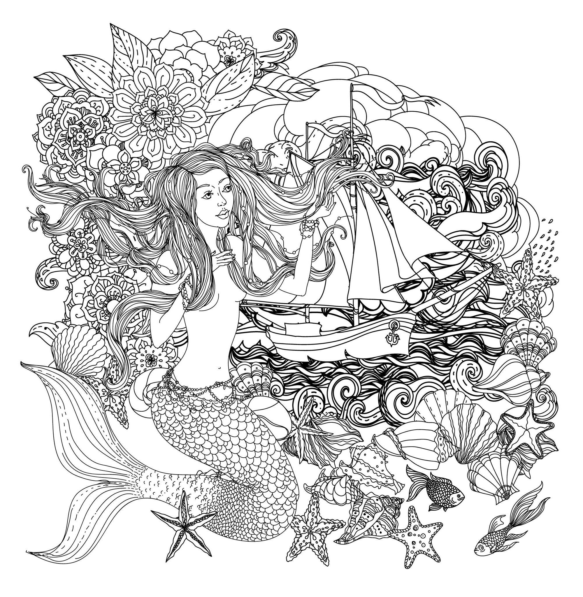 Sirene Et Bateau Coloriage De Sirènes Coloriages Pour