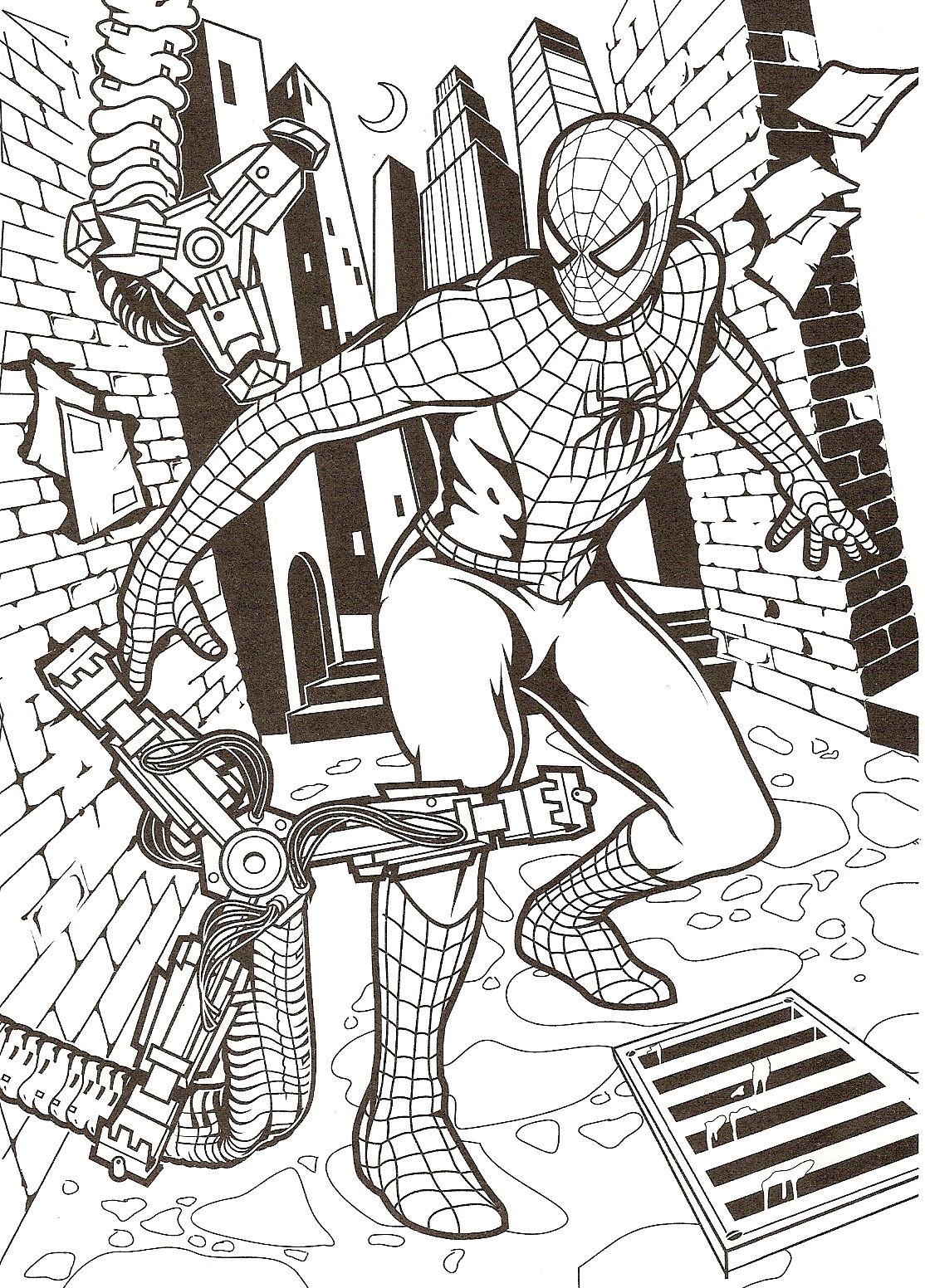 L'homme araignée prêt à se faire colorier