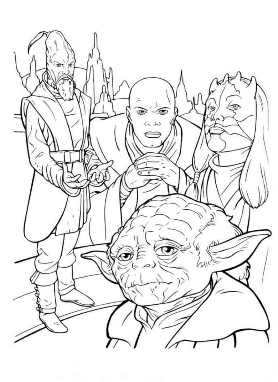 Personnages de Star Wars avec Yoda, à imprime et colorier