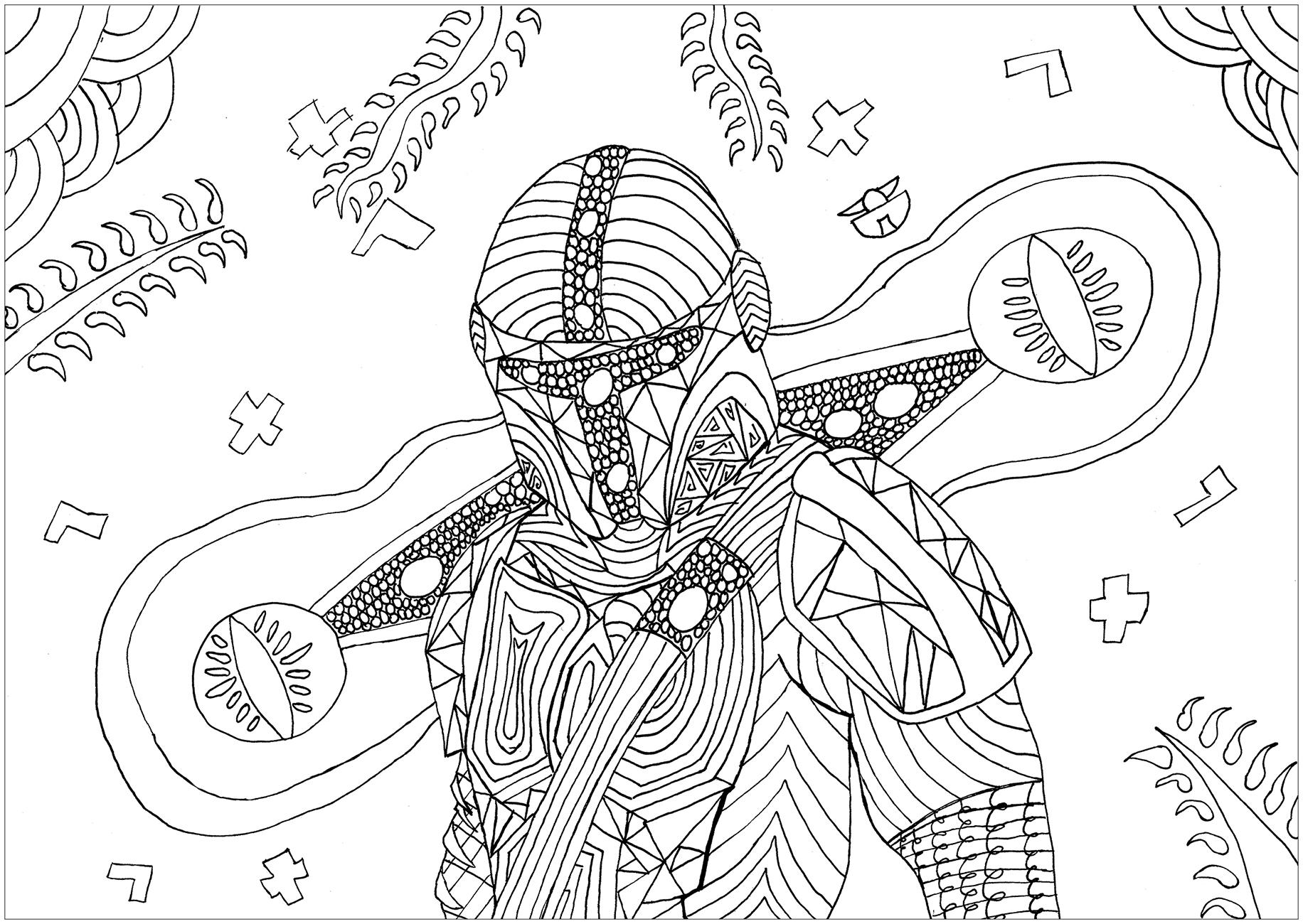 Coloriage Fan Art inspiré de la série Star Wars Le Mandalorien