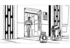 Coloriage fan art star wars robots r2d2 c3po bb8