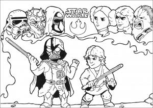 Coloriage star wars luke vd darkvador et autres personnages par allan