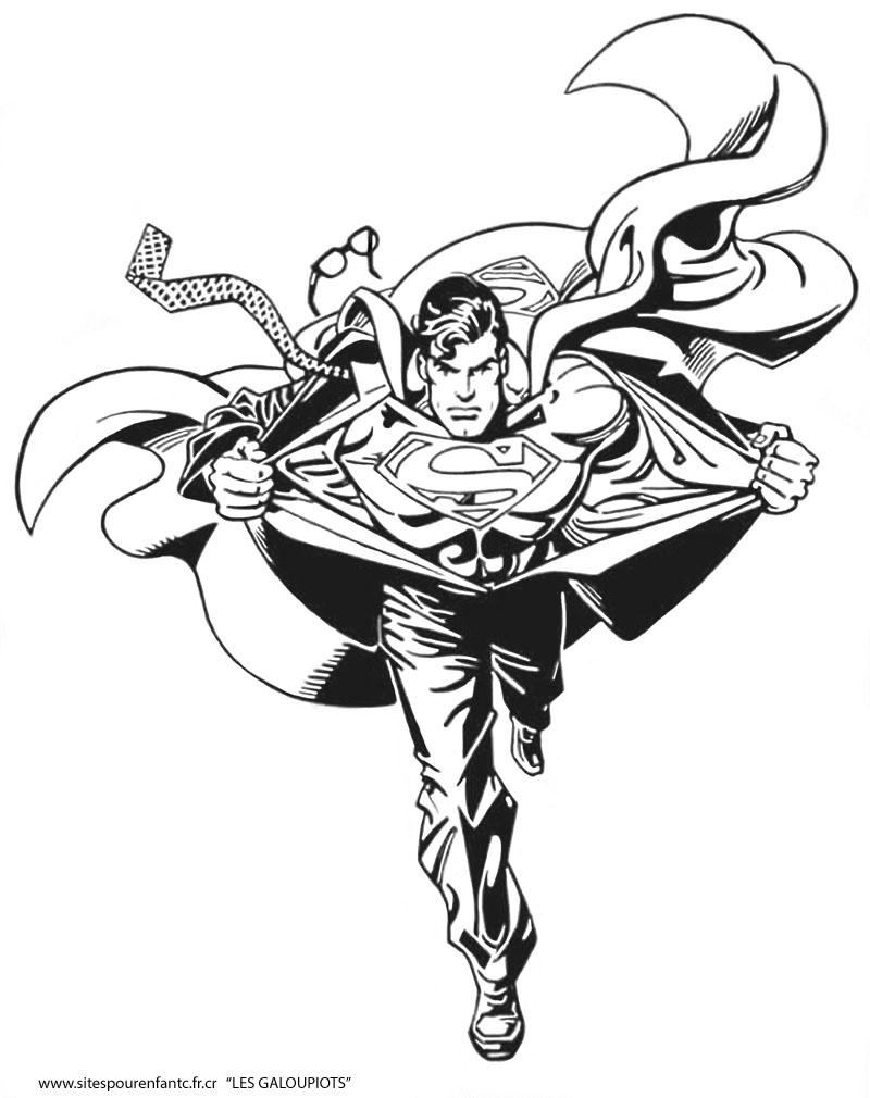 Coloriage de Superman en pleine action