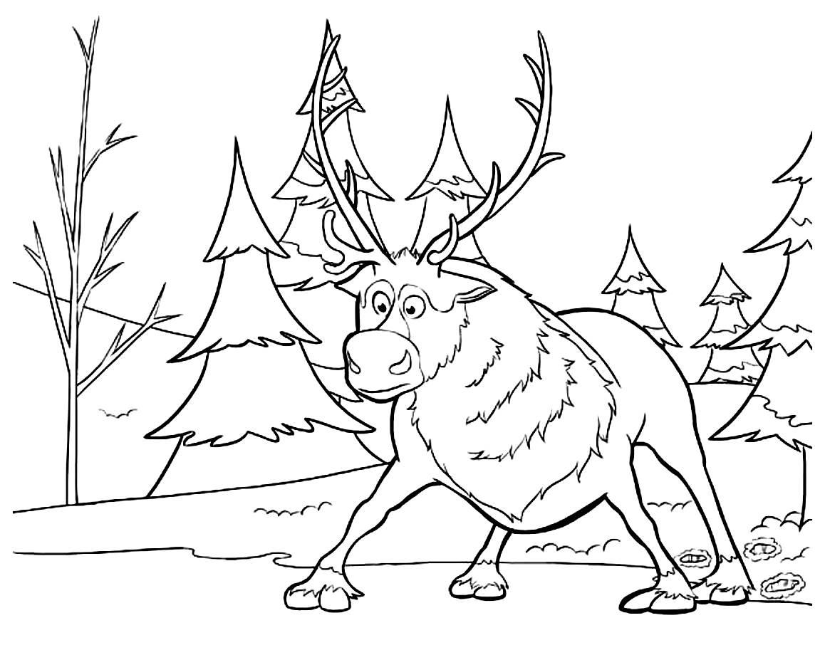 La reine des sven 1 coloriage sven la reine des neiges - La reine des neige coloriage ...