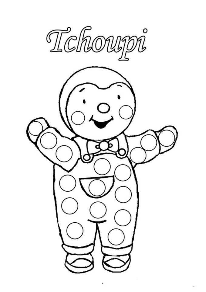 Image de T'choupi à imprimer, pour un coloriage très simple