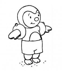 Coloriage de T'choupi à colorier pour enfants