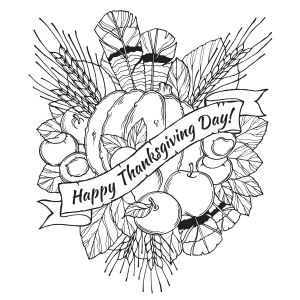 Coloriage facile happy thanksgiving day 2