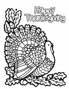 Coloriage facile happy thanksgiving dinde