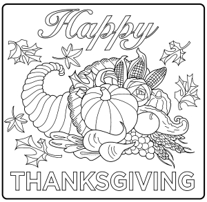 Coloriage facile thanksgiving corne abandonce