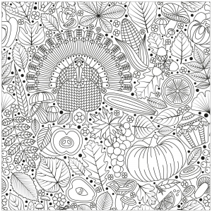 Coloriage facile thanksgiving dinde et aliments