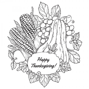 Coloriage facile thanksgiving fruits