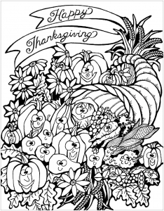 Coloriage facile thanksgiving good meal