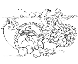 Coloriage facile thanksgiving repas