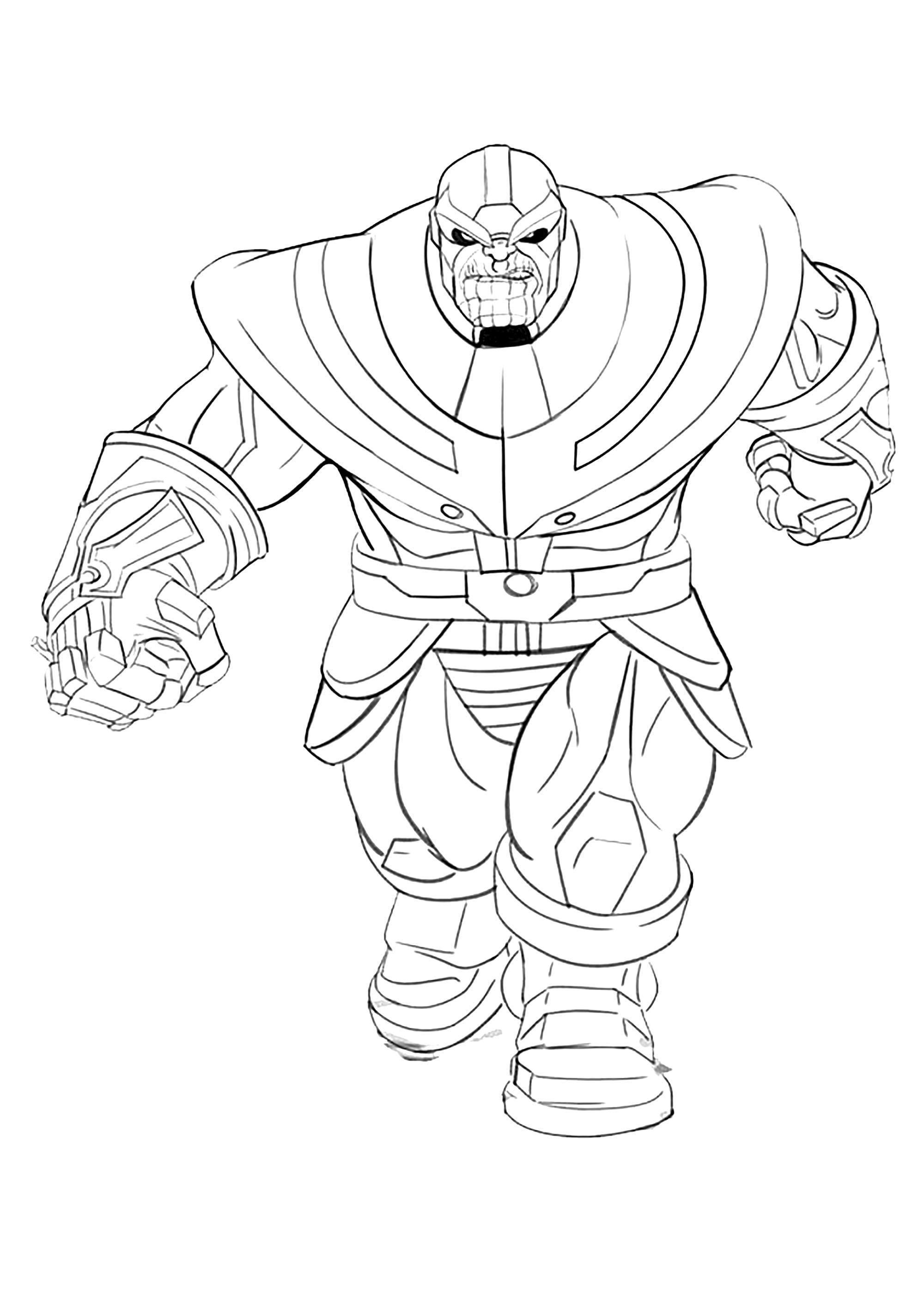 Peu de détails à colorier, les plus petits pourront d'amuser avec ce coloriage du méchant Thanos !