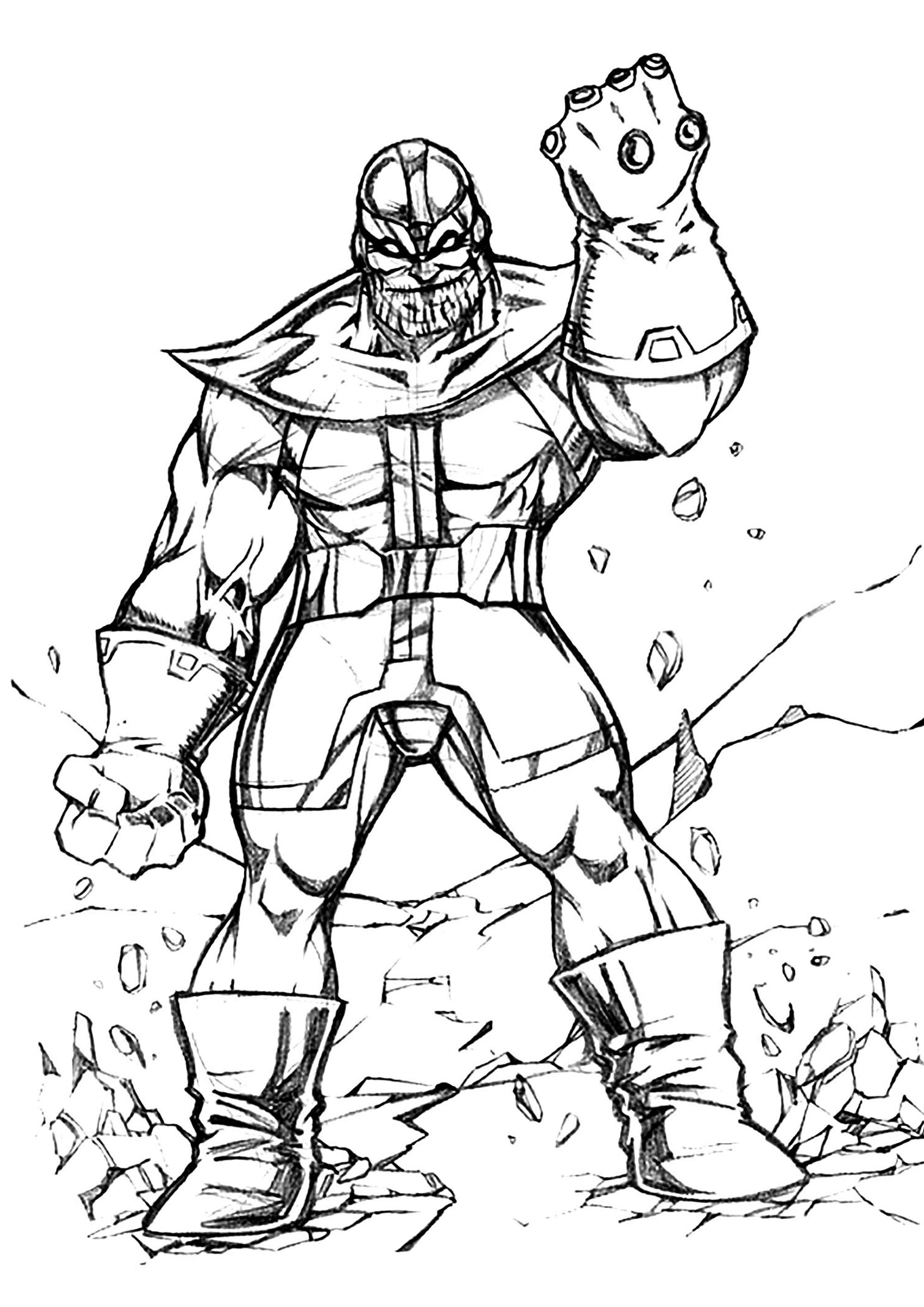 Thanos et son gant orné des six joyaux - Coloriage Thanos ...