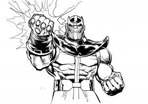 Thanos brandissant son gant de l'Infinité