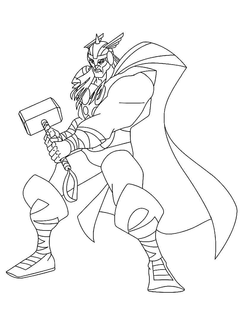 dessin de thor imprimer - Marvel Coloriage