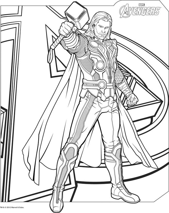 Thor avengers - Coloriage de Thor - Coloriages pour enfants