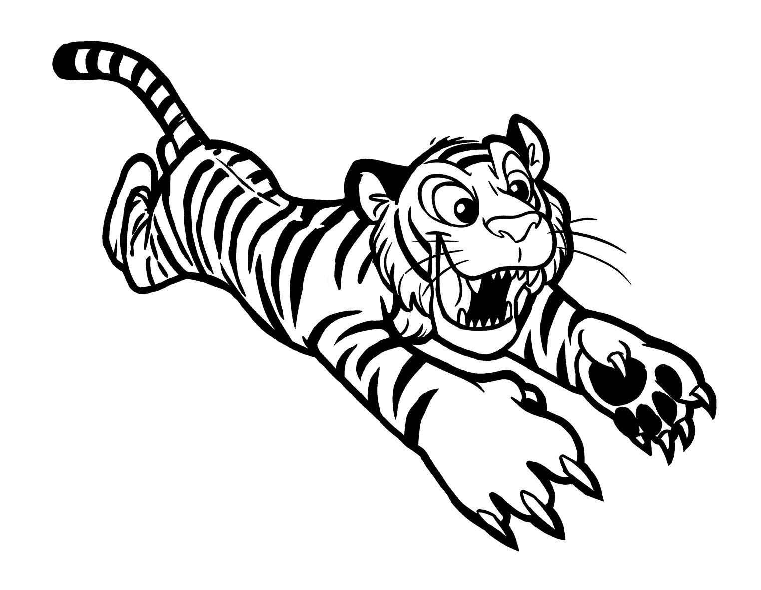 Coloriage de tigre facile pour enfants
