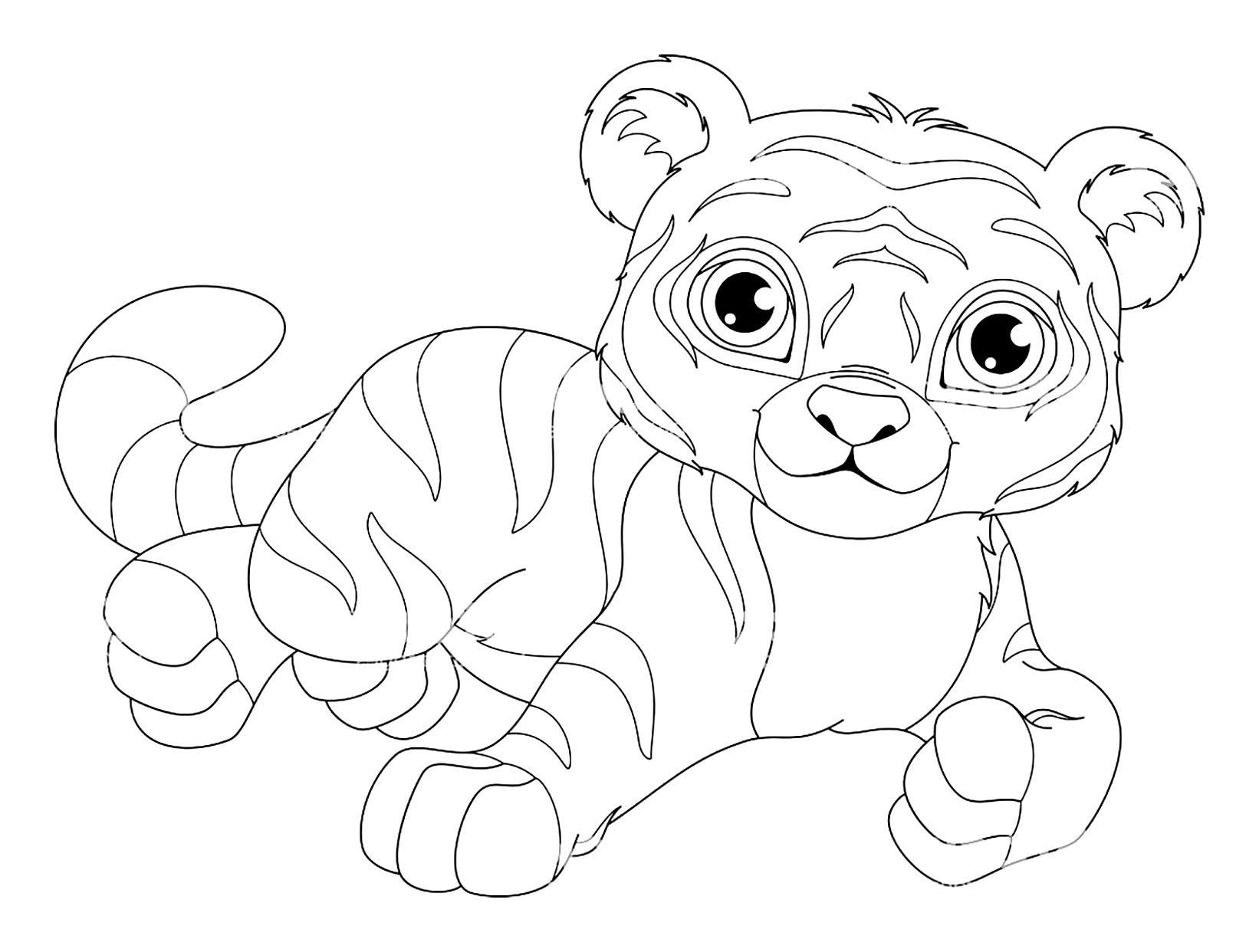 Joli coloriage de tigre assez simple