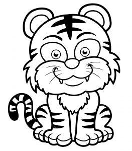 Coloriage de tigre à colorier pour enfants