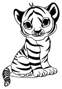 Dessin de tigre gratuit à imprimer et colorier