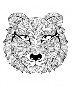 Coloriage de tigre à télécharger